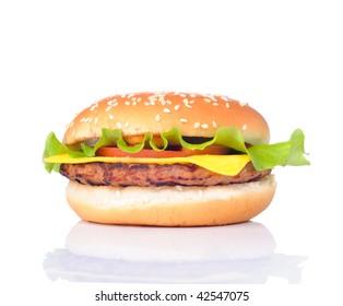 fresh delicious hamburger isolated on white