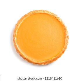 Fresh delicious homemade pumpkin pie on white background, top view