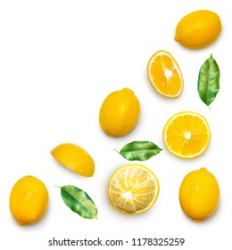 Fresh delicious lemon isolated on white background. Creative minimalistic food concept. Top view. Flat lay.