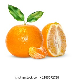 Fresh delicious mandarins, tangerine, clementine isolated on white background. Creative minimalistic food concept.