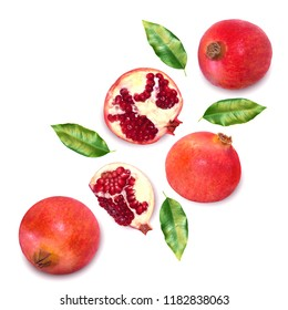 Fresh delicious pomegranate isolated on white background. Creative minimalistic food concept. Top view. Flat lay.