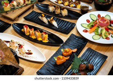 Fresh and delicious sushi Japanese food.Image of Japanese food