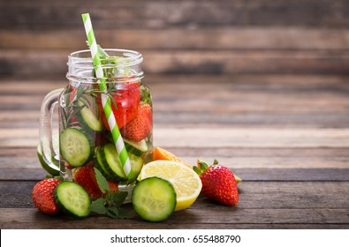 Fresh detox water with cucumber and strawberry