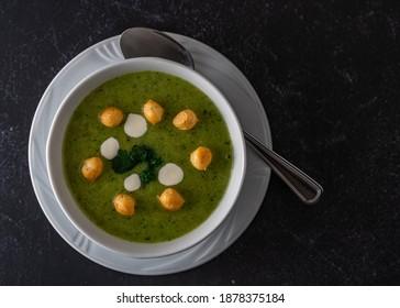 Fresh diet broccoli cream soup - Shutterstock ID 1878375184