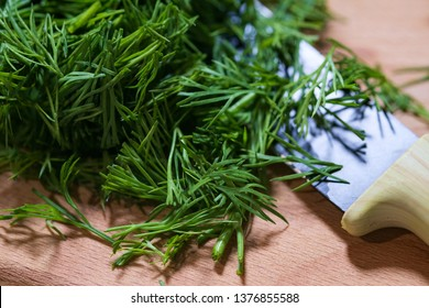 fresh dill on wooden board