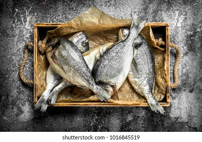 Fresh Dorado fish on an old tray. On a rustic background.