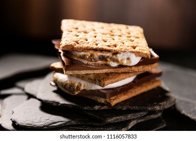 Fresh double staked smores ready to eat