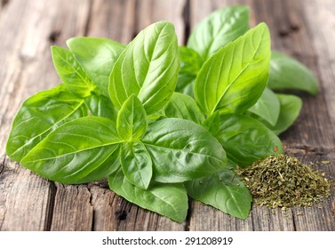 Fresh and dried basil