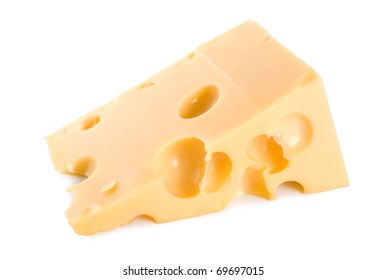 Fresh Dutch cheese isolated on white background