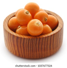 Fresh edible physalis over white background