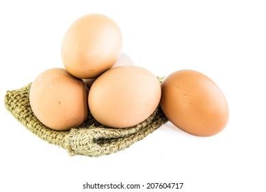 Fresh Egg With Burlap Sack Harvest on with background.