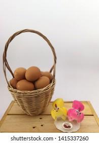Fresh EGG food chicken basket  white Background