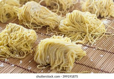 Fresh egg noodle, ramen, selective focus