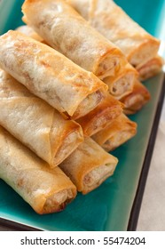 Fresh Egg Rolls on Plate