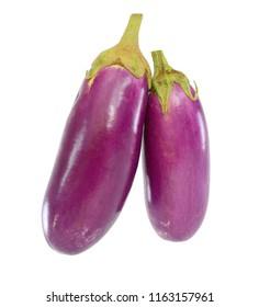 Fresh eggplant fruit isolated on white background