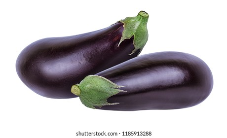 Fresh eggplant isolated on white background  with clipping path