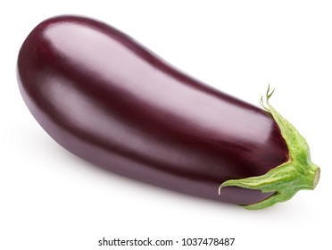 Fresh Eggplant vegetable with stem isolated on white background. Aubergine with clipping path