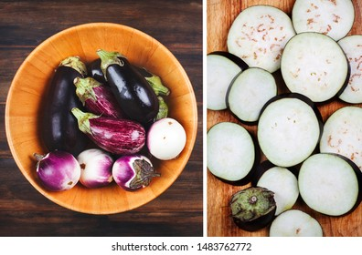 Fresh eggplants of different color and variety in wooden bowl on a wooden background, top view