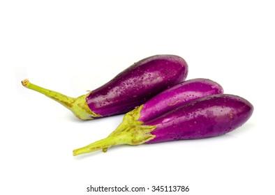Fresh  Eggplants  isolated on white background.