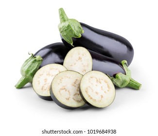 Fresh eggplants with slices on white background