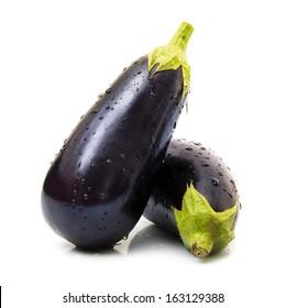 fresh eggplants in white background