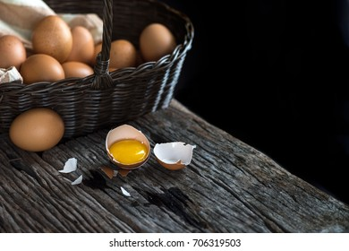 Fresh eggs and egg shell on basket.Raw egg for food.Low key