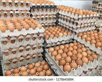 Fresh eggs from farm for sale on the supermaket stall