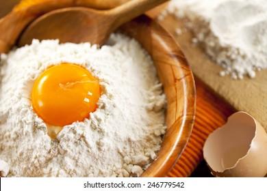 fresh eggs and flour