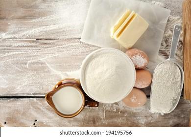 fresh eggs flour and pasta