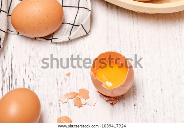 Fresh eggs are on the table