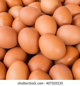 Fresh eggs sold in markets.