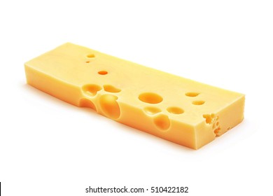 fresh emmentaler cheese block isolated