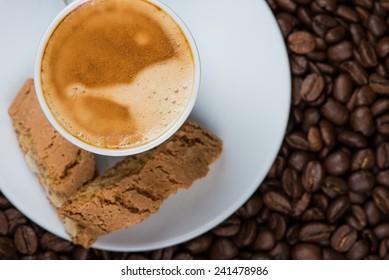 fresh espresso with biscuits