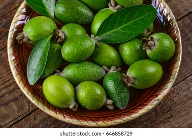 Fresh exotic feijoa fruits on plate