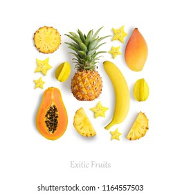 Fresh exotic fruits isolated on white background, top view