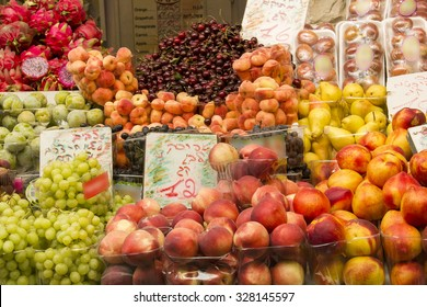 Fresh Exotic Fruits on the Eastern Market Stall in Israely Market Mahane Yehuda,Jerusalem