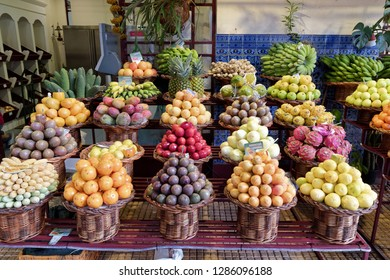 Fresh exotic fruits on famous market in Funchal (Mercado dos Lavradores), Portuguese island of Madeira