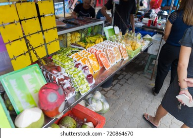 Fresh Exotic Fruits On Traditional Asian Open Market Or In Street Cafe Products On Outdoor Asia Bazaar Concept