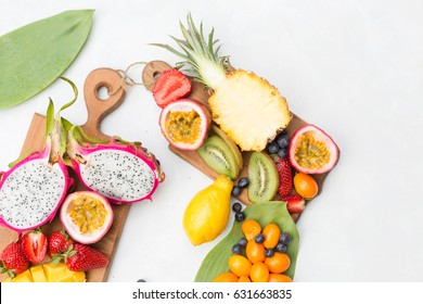 Fresh exotic  fruits on a white background