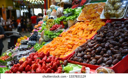 Fresh and exotic fruits stand at Municipal Market (Mercado Municipal) in Sao Paulo, Brazil