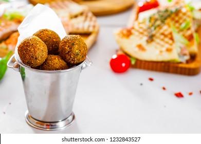 Fresh falafel balls. deep fried balls of ground chickpeas
