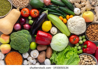 Fresh farm organic vegetables, healthy food concept, vegetables and beans, superfood and green salad, nuts and seeds, top view