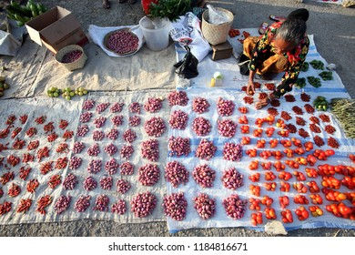 fresh fegetable at a food market at the village of Lospalos in the east of East Timor in southeastasia.      East Timor, Lospalos, November, 2019