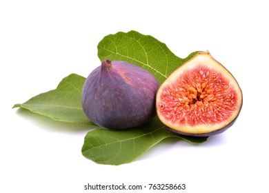 Fresh fig fruits with green fig leaf.