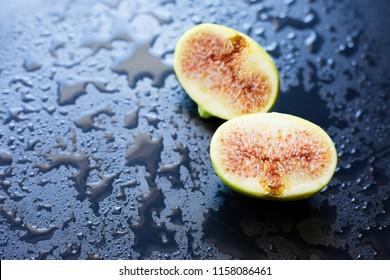 Fresh fig on a black background,