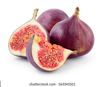 Fresh figs. Fruit with half and quarter isolated on white background. With clipping path.