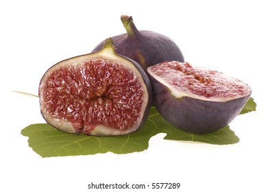 fresh figs. fruits and leaf isolated on the white background
