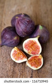 fresh figs on rustic wooden table
