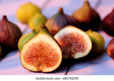 fresh figs on a wooden background, selective focus