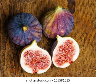 fresh figs on a wooden table